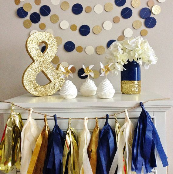 8 yards || Navy, Cream, Shimmery Champagne, and Double Sided Gold Glitter || Party Wedding Backdrop || Custom colors available on Etsy, $30.00