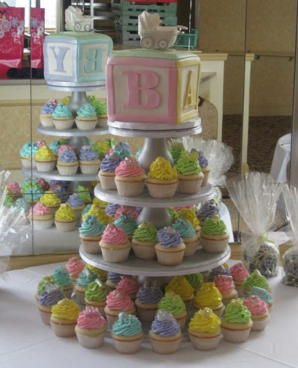 Baby Block Cake Tower - what I really like is the blocks... little cake squares with block letters would be cuter than cupcakes