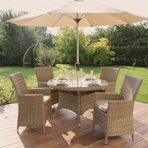 Maze Rattan Natural Milan 4 Seat Highback Round Garden Furniture Set