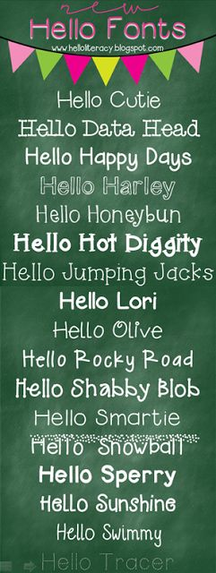 Hello Literacy: Hello fonts ~~ {17 free fonts w/ links to download}