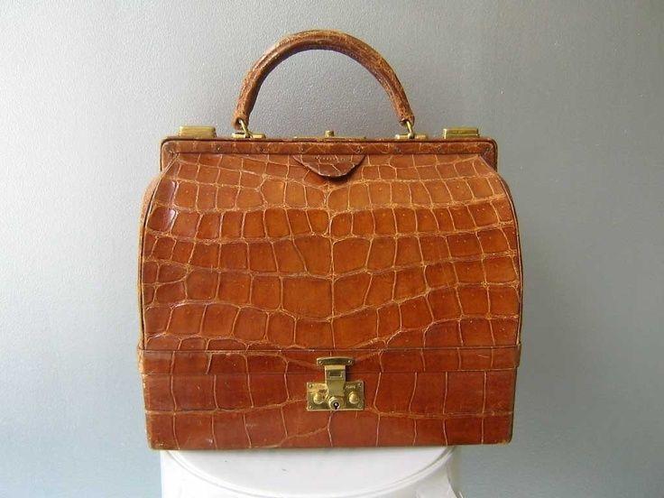 Vintage Herms 1950s Caramel Crocodile Sac Mallette 29cm Travel Case
