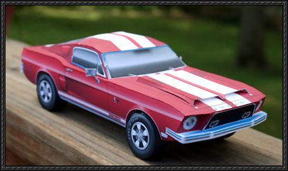 This vehicle paper model is a 1968 Ford Shelby Mustang GT500 KR, a higher performance variant of the Ford Mustang which was built by Shelby American, the p