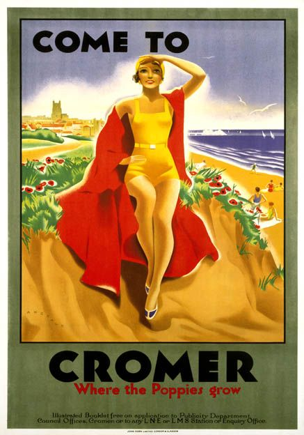 'London & North Eastern Railway (LNER) and London Midland & Scottish Railway (LMS) poster promoting rail travel to Cromer in Norfolk. A woman in bathing costume sits on a sand dune surrounded by poppies, with the sea, beach and church in the background. 1923-1947. Artwork by Bruce Angrave.' www.travelpostersonline.com