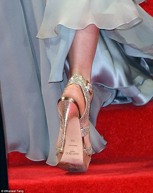 The Duchess of Cambridge paired her Jenny Packham gown with platform high heels by Jimmy Choo