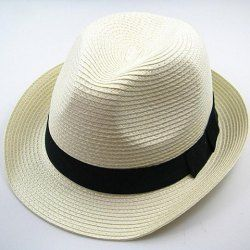 $2.65 Chic Style Solid Color Embellished Peaked Fedora Straw Hat For Men and Women