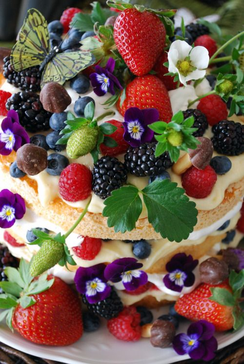 An angel food cake, cut in thirds, layered with lemon curd, whipped cream, berries, and chocolate mushrooms.
