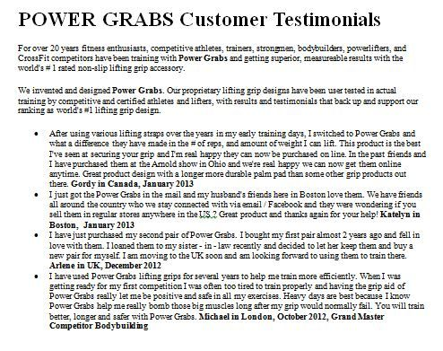 Power Grabs Customer Testimonials