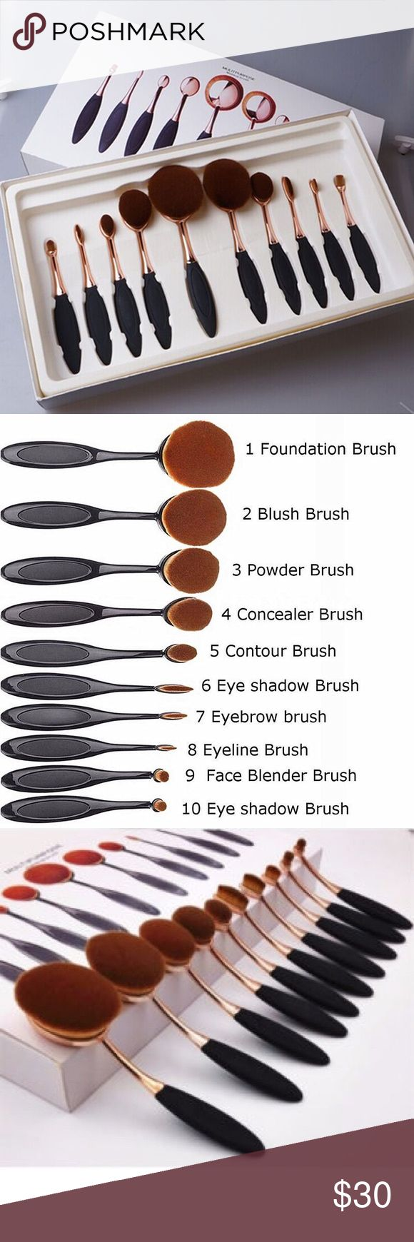 """Oval Makeup Supper Soft Brush Please don't hesitate to """"Offer!"""" You will have a Deal! Just ask me! I will accommodate! Thank you!     ***From highlighting to contouring, these brushes gives you so many options for doing your makeup. The brushes have a round shape design that's perfect for blending foundation, blush, or powder to your face or cheeks. With so many different sized brushes to choose from, you can achieve any look you want! ***** Makeup Brushes & Tools"""