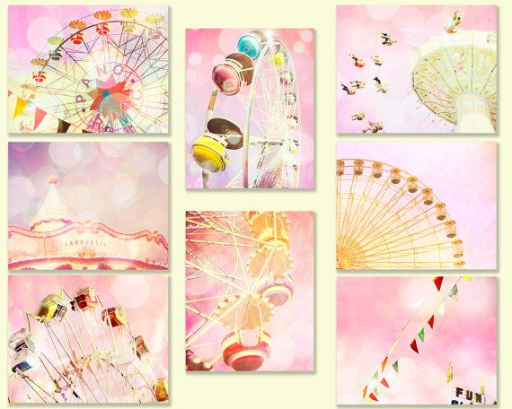SALE - Carnival photography, nursery art, pink, ferris wheel, little girls room, baby, nursery decor, wall art, baby, circus, carousel