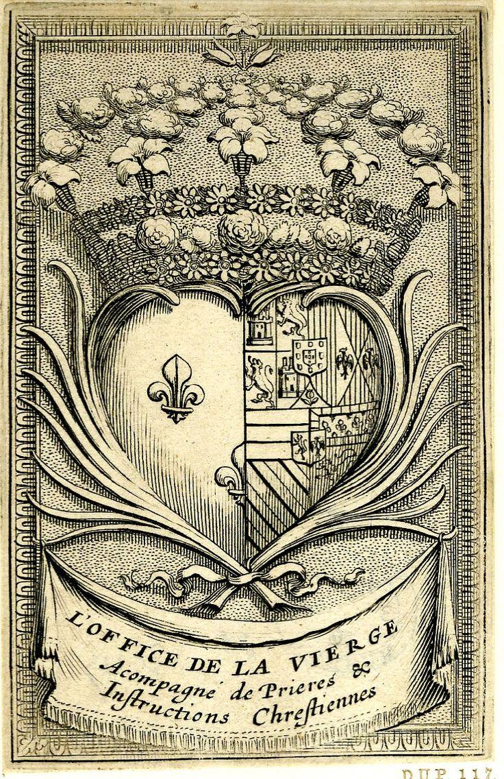 Armes d'Anne d'Autriche, épouse du roi Louis XIII. -- Gravure d'Abraham Bosse. Page de titre d'une édition non connue de «L'Office de la Vierge», France, 1621-1666.