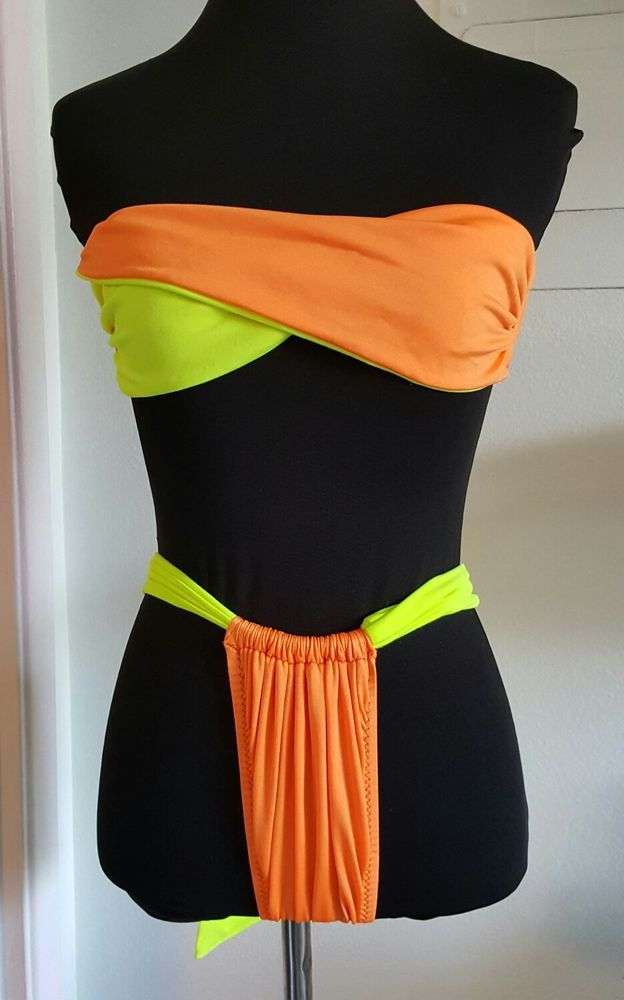 Brasil Bikini Yellow Orange Bandeau Top Thong Bottom With Bow Size M NWT #Handmade #Bikini