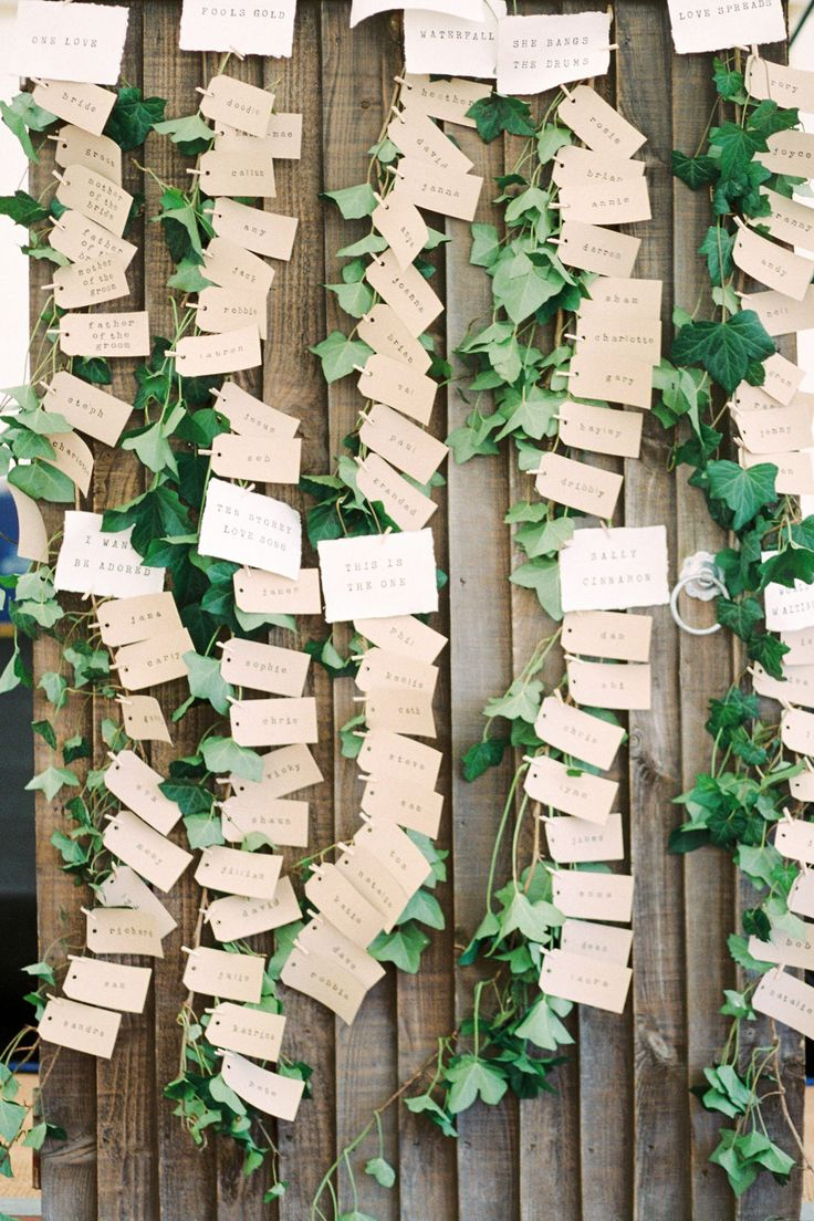 Ivy Vines with Pegged Escort Cards   Scampston Hall Yorkshire   Outdoor Ceremony   Marquee Reception   Samantha Ward Photography   http://www.rockmywedding.co.uk/bianca-sam/