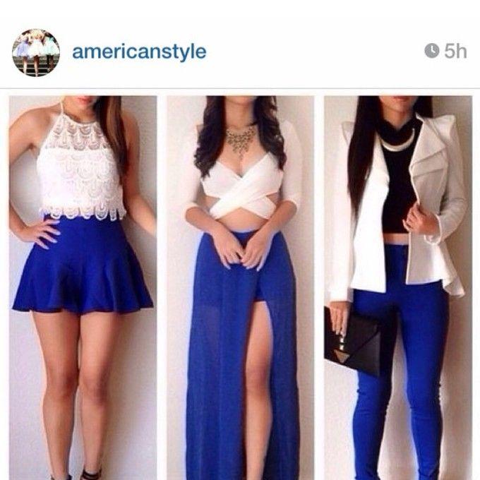 dress shirt white skirt blue crop tops high low