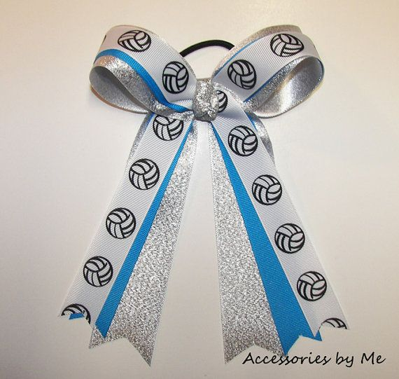 Volleyball Hair Bow Copen Blue Silver Ribbon by accessoriesbyme, $13.99