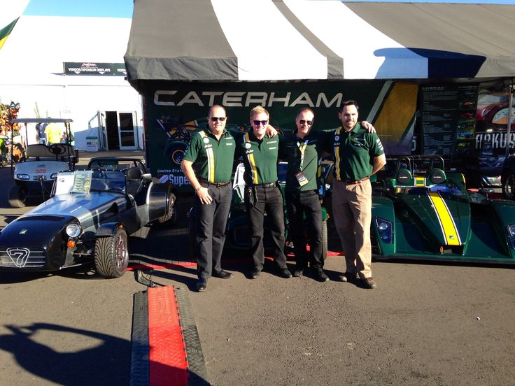 Crew picture in front of Caterham.  Hillbank is excited to sell these amazing machines.