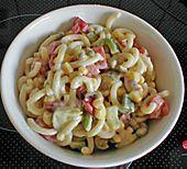 Nudelsalat  Zutaten  250 gGabelspaghetti oder Schleifchennudeln 1 Dose/nMaiskörner, ca. 200 g 2 kleinePaprikaschote(n), rot und grün 1 Dose/nErbsen und Möhren, ca. 300 g 2 Gewürzgurke(n) (oder 1 Essl. Kapern) 3 Tomate(n) 1 kleineZwiebel(n), fein gehackt 1 kl. Glas  Salz und Pfeffer 1 ELKräuter, gemischte gehackte  Zitronensaft  Curry