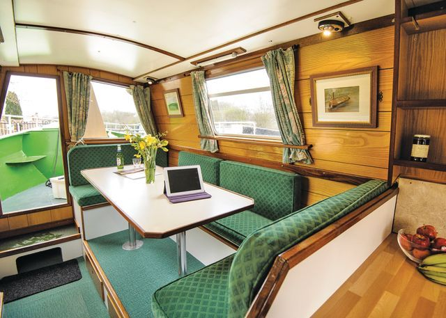 Wild Burdock - saloon  #saloon #dinette #narrowboat www.calcuttboats.com