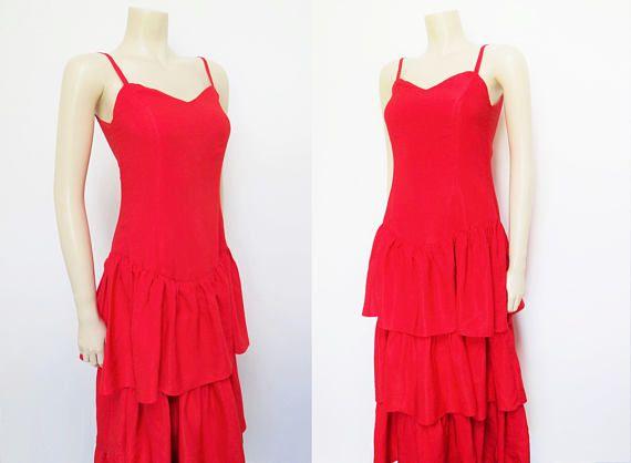 Red Dress UK8 Silk Dress Flamenco Vintage Clothing Ladies