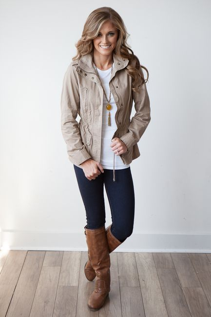 Shop our cutest jacket! It's flattering on everyone and sure to have people asking where you got it! Lightweight and fully equipped with three functional pockets. Drawstring in waist allows you to cinch it for a more fit look or leave it loose for a cool, casual look. Gold zipper and snap details compliment the khaki very well. 100% cotton. Fits true to size. Free shipping on US orders $50 & up!