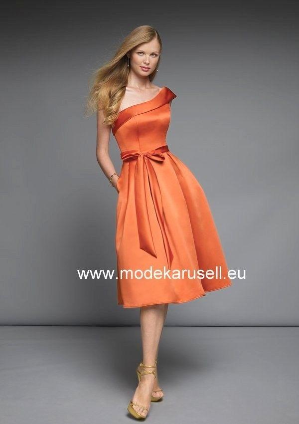 Knielanges One Shoulder Abendkleid in Orange