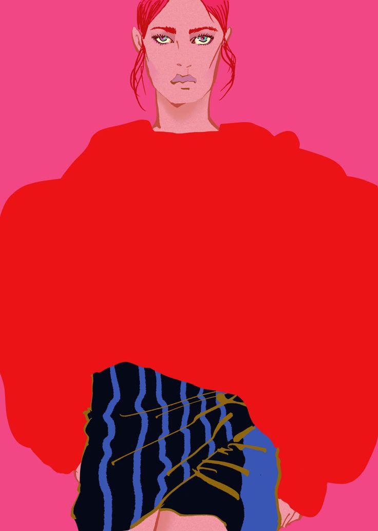 'Girl in Red Sweater' New Portrait - Eunjeong Yoo - Fashion Portrait & illustration
