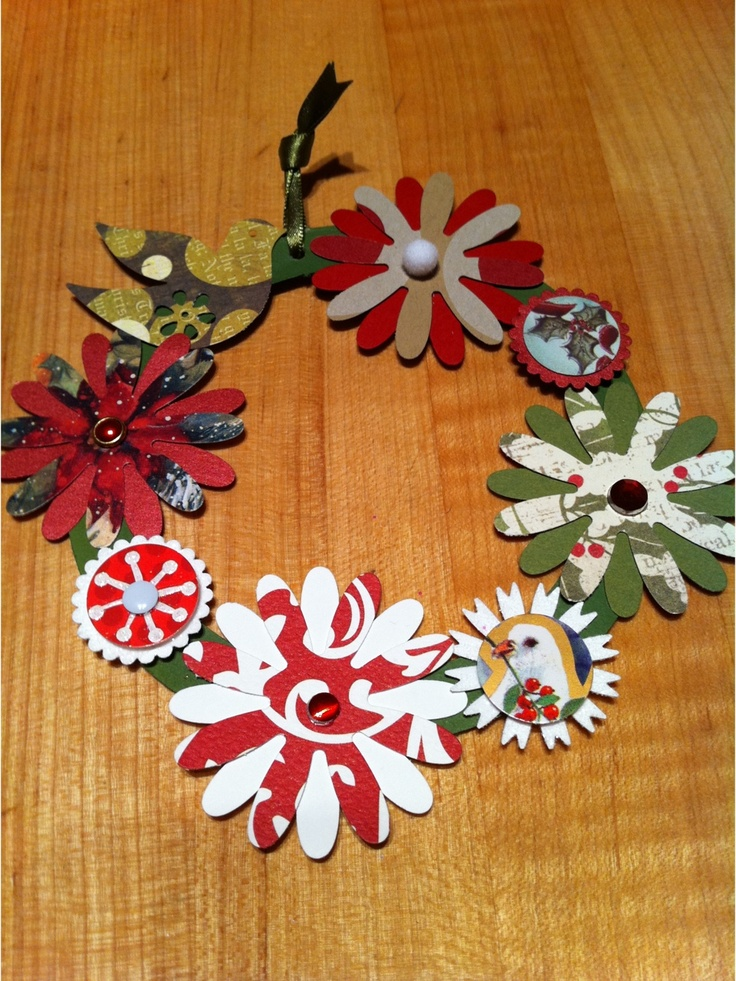 Recycled Christmas Craft Ideas Part - 48: Miniature Christmas Wreath Made Primarily From Recycled Greeting Cards Ofu2026