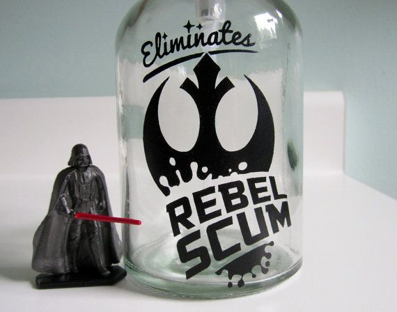 Rebel Scum Glass Soap Dispenser   Star Wars Bathroom Decor