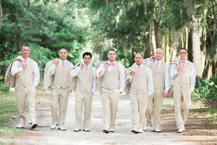 Coral and Gold Elegant Wedding at The Regent - The Coordinated Bride; tan suits; ivory suits; cream suits; bowtie; groomsmen;