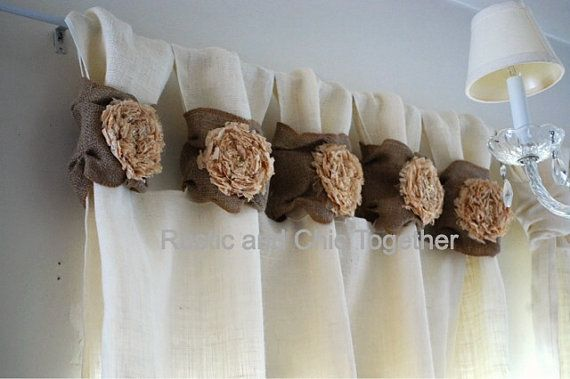 Burlap wide ruched tabs curtain- tea dyed rosette- white burlap