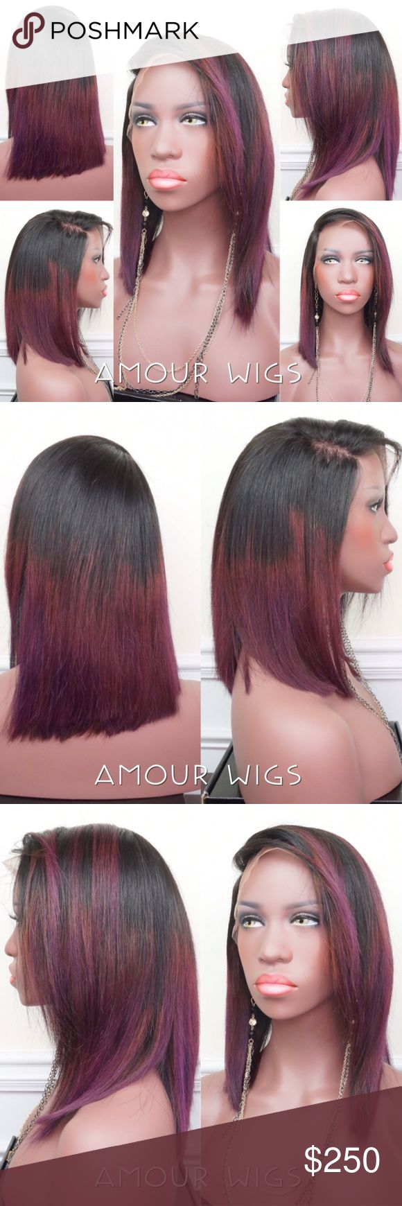 Brazilian Lace Frontal Bob Wig Purple Ombré Long Bob (Lace Frontal or Closure) Wig   Brazilian Custom Wig   12 inch   Slightly Pre-Plucked Hairline   13x4 lace frontal 12 inch   Custom Color   Can be made for 19 to 23 inch Head Circumference Size   Light-Medium Brown Tinted Lace   Baby Hairs   Wig Unit can be made on wig cap w/ adjustable straps or dome cap   4 wig combs & elastic band will be included in package   This unit is made with all lace, no wefts   Please allow up to 7 business…