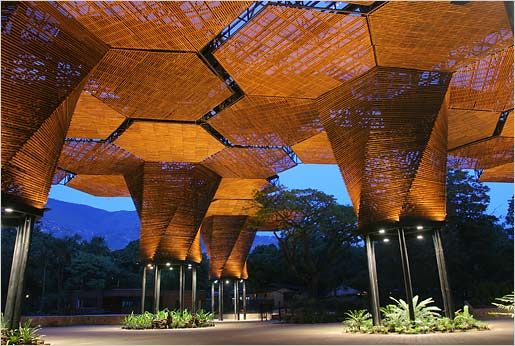 "The Jardin Botanico-Orquideorama in Medellín, Colombia. Architects Felipe Mesa and Alexander Bernal wanted the Orquideorama to grow in the same way that a garden seeds and develops, with one ""flor-árbol"" popping up next to another. This lead them to design the installation as a series of interconnected modular structures (14 in all) specialized for a variety of functions including event halls, butterfly reserves, and flower gardens."