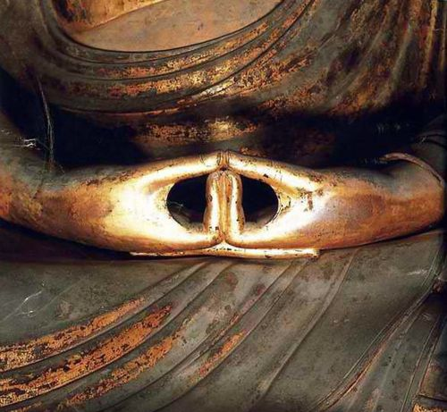 The Buddha's hands in mudra