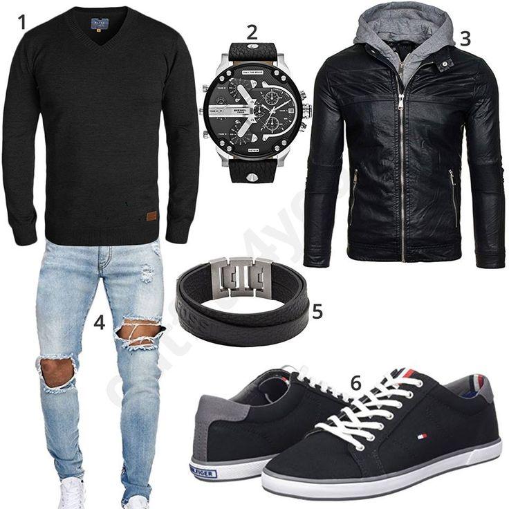 Herren-Style mit Blend Pullover, hellblauer EightyFive Jeans, schwarzer Bolf Lederjacke, Diesel Armbanduhr, Fossil Armband und Tommy Hilfiger Sneakern.
