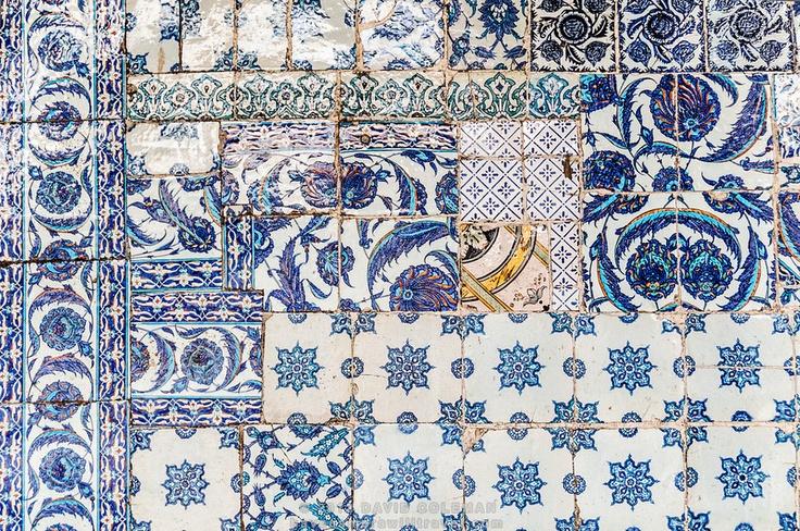 Old ceramic tiles at Rustem Pasha Mosque in Istanbul