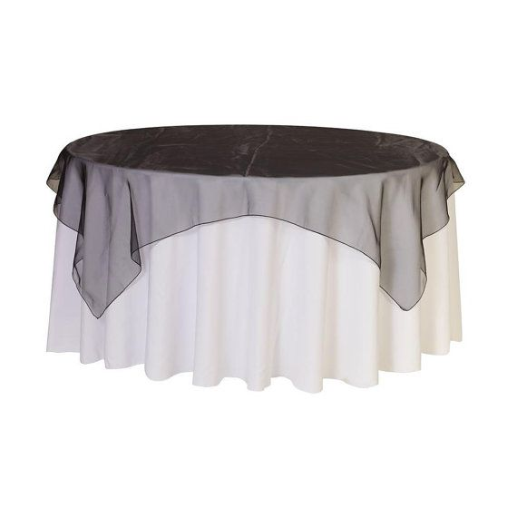 90 inch Square Organza Table Overlay Black  by YourChairCovers