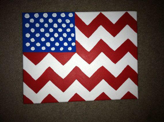 American Flag Chevron Canvas Painting  by DesignsByTEJ on Etsy, $28.00
