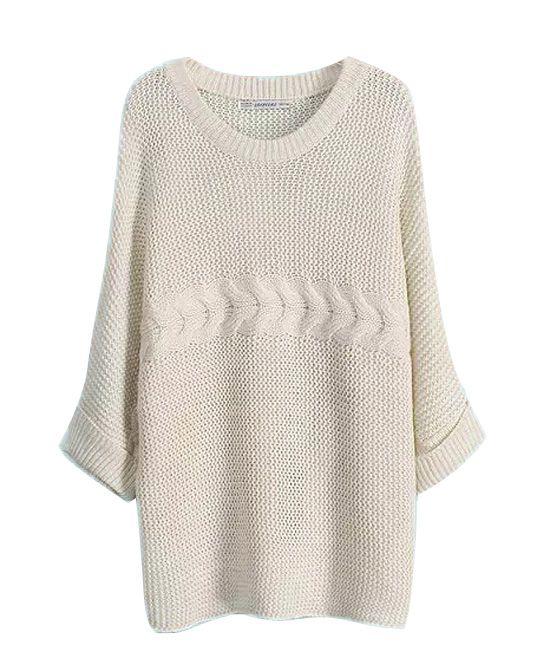 Round Neckline Pullover Bread Twist Knitwear