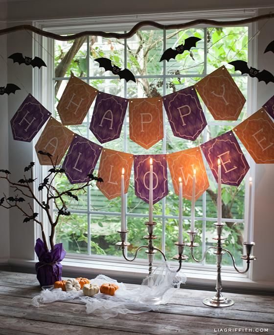 Halloween decorations : IDEAS &; INSPIRATIONS  Halloween Decor Printable Halloween Banner and Flying Bats