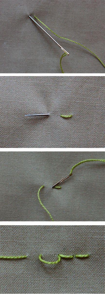 basic stitches; backstitching, chain, satin stitch and french knot