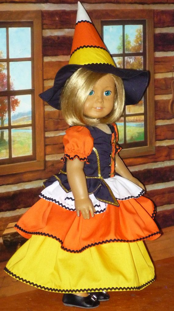 American Girl Doll Candy Corn Halloween Witch Costume
