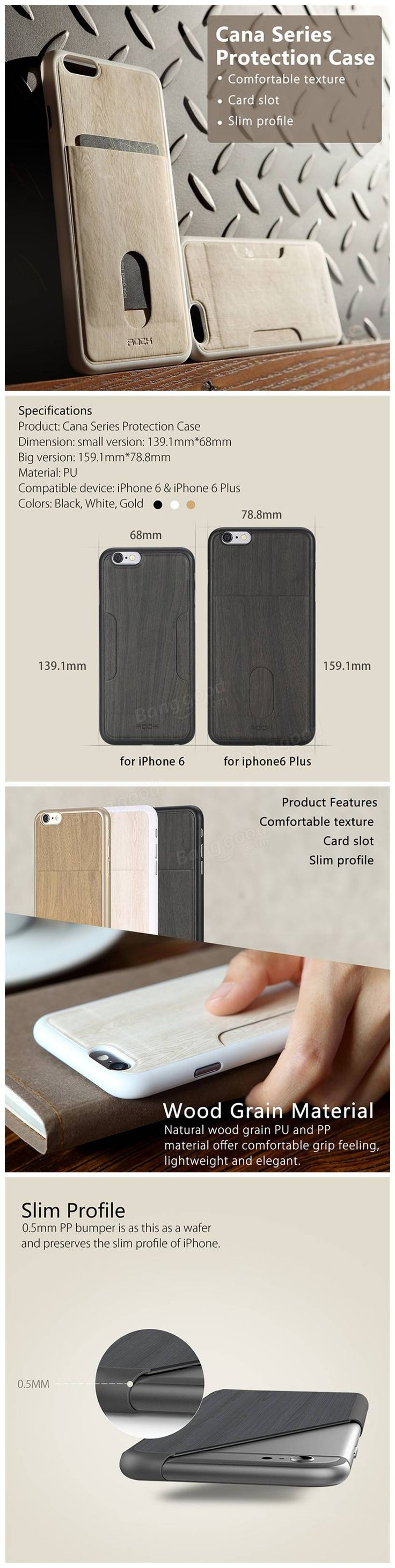 Only US$9.99, buy best ROCK Cana Series Wood Grain Leather Skin Phone Bag Vertical Card Slot Case For iPhone 6 6s Plus sale online store at wholesale price.US/EU direct.