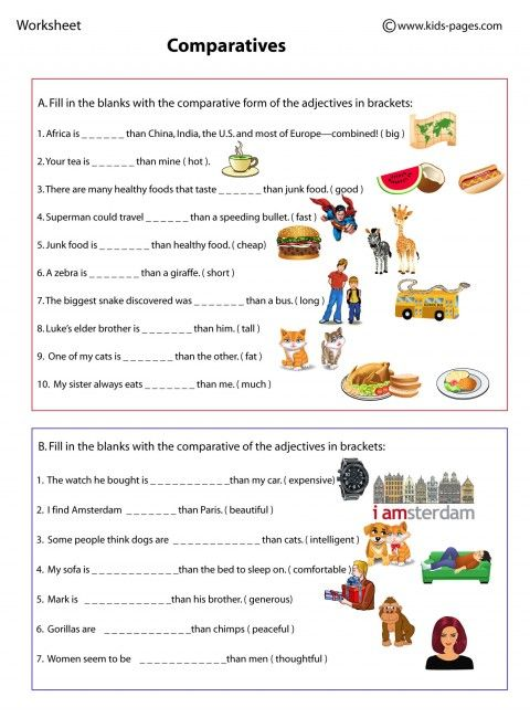 Comparatives worksheets