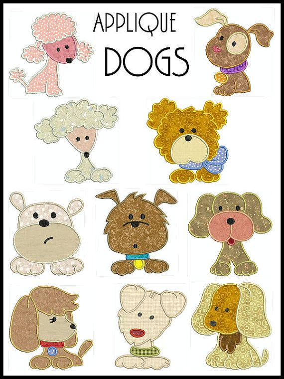 Set of 10  DOGS  Machine Applique Embroidery  by embroiderquilt, $9.00