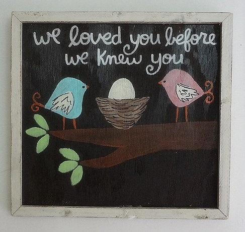 Hand Painted Framed Bird Nest Boys Nursery Art   WE LOVED YOU... Baby Shower Gift. $49.00, via Etsy.