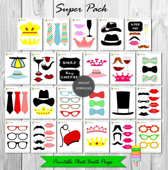 Printable Photo Booth Props– 82 Pieces-Wedding Photo Booth–Instant Download-Mustaches–Lips–Glasses–Ties–Crowns–Labels–Photo Booth–Super Pack