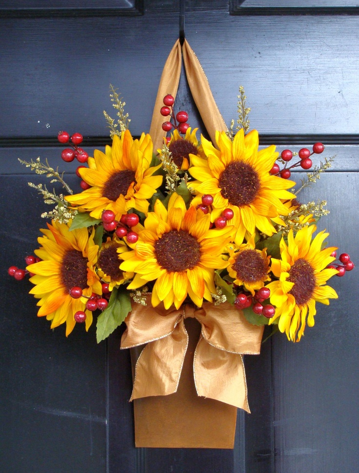 Fall Wreath Alternative, Sunflower Harvest Berry Fall Door Bucket Wreath, Fall Wreaths. Etsy.
