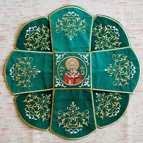 Embroidered orthodox Communion Chalice Covers, green, with icon of Holy Trinity, st Seraphim and st. Nicholas