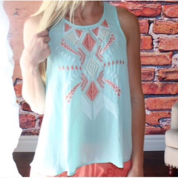 "24 Hours SALE Was $36 Tribal Aztec Mint Top Brand new with tag. 60% cotton and 40% polyester. It is semi-sheer. Measurement laying flat: bust: 20"" length: 27"" It is true to size - large. Umgee Tops"