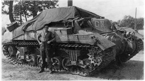 Another example of the 'tarp/bivouac' supports in use, seen here on RED-CHIEF, a 'Ram' Kangaroo armoured personnel carrier of the 1st Canadian Armoured Personnel Carrier Regiment. Source: 1 CACR Association & Archive