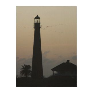 The point bolivar lighthouse silhouetted wood wall art